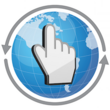 overTHERE icon: Globe image with pointing finger